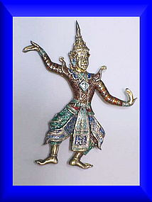 Siam Nielloware sterling Lakorn Chai dancer brooch