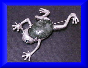 Reja sterling green stone tree frog brooch