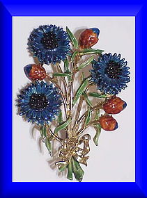 Exquisite large cornflower birthday brooch- September