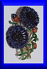 Exquisite large cornflower birthday brooch - September