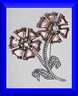 Reinad pink floral rhinestone brooch