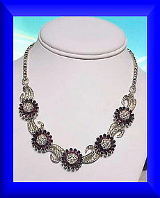 Pennino amethyst daisy-like floral  rhinestone necklace