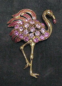"Trifari Pink Flamingo brooch  3 1/2"" x 2"""