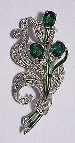 Trifari Alfred Philippe emerald floral spray brooch