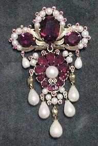 Trifari hinged red rhinestone & pearl deco style brooch