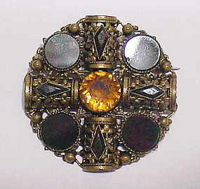 Scottish blood stone, brass & cairngorn brooch