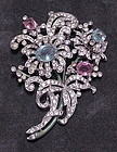 Trifari crown rhinestone flower bouquet  dress clip