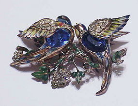 CoroCraft sterling vermeil Bill & Coo lovebirds  duette