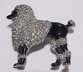 Trifari pave &  black enamel French poodle dog brooch