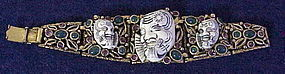 Selro white Noh Samurai warrior/devil face bracelet 50s