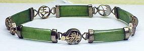 14K yellow gold jade bracelet  (vintage)