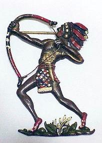 American Indian enameled bow, arrow, & headdress brooch