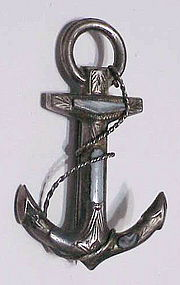 Scottish sterling Montrose gray agate anchor brooch