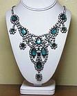 Juliana faux pear shape emerald & rhinestone necklace