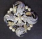 Trifari 'Alfred Philippe' Empress Eugenie gold enamel +