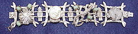 Har laughing smiling Asian man & dragon bracelet, Ivory