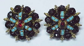 Hattie Carnegie Jewels of Fantasy clip button earrings