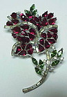 Trifari 'Alfred Philippe' ruby & emerald rose brooch