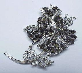 Trifari 'Alfred Philippe' gray & clear rose brooch