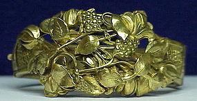 Victorian dore gold  washed metal bangle bracelet