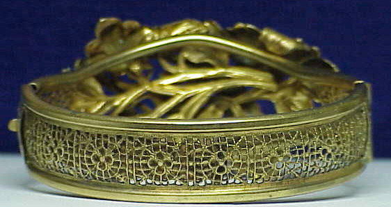 Victorian dore gold  washed metal bangle bracelet