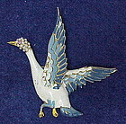 Reja enamel goose brooch