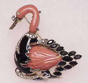 Hattie Carnegie  black & coral swan brooch