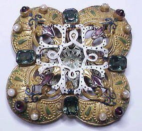 Hobe Victorian Austro Hungarian emerald enamel pearl