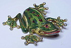 Corocraft sterling gold & enamel tree frog brooch