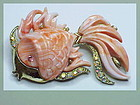 Hattie Carnegie pink coral fish brooch (UNSIGNED)