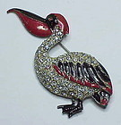 Fred Gray Pelican brooch, pot metal,clear rhinestones & enameling