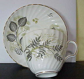 Adderly gray & green leaves,  gold trim cup & saucer