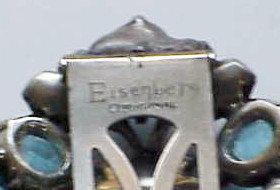Eisenberg Original big clip pink & turquoise rhinestone