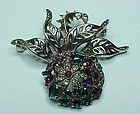 Trifari sterling  tricolor fruit berry with leaves pin