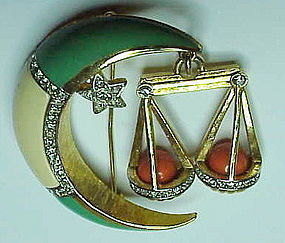 Denicola Libra sign brooch (September 23 -October 22 )