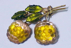 Austrian raspberry  brooch with frosted green leaves