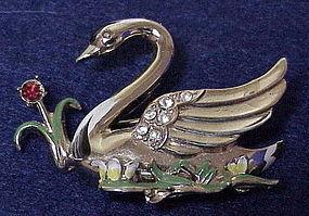 Coro gold tone enamel swan brooch - Pat Pend.