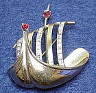 'John Caianiello' sterling Viking ship brooch