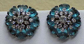 Pennino sterling  blue & clear rhinestone earrings