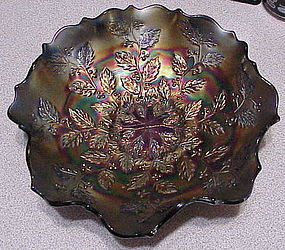 "Fenton 'Holly"" carnival glass bowl 9"""