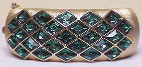 Trifari emerald Harlequin bangle bracelet
