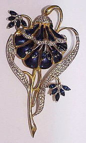 Coro A. Katz enamel trembler lotus flower brooch, similar to duette