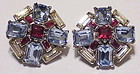 Trifari ruby red,light blue and clear earrings