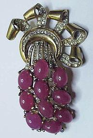Reja sterling vermeil rose opal cabochons brooch
