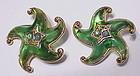 Trifari green jelly lucite gold tone starfish earrings