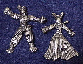 Sterling 1940s Nenette & Rintintin rag dolls brooches