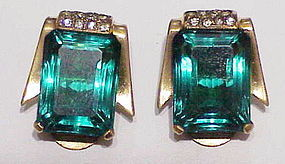 Mazer sterling vermeil faceted emerald green earrings