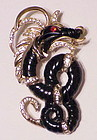 Hattie Carnegie ebony  dragon brooch