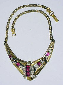 "McClelland Barclay ""V Shaped"" ruby necklace"