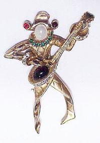 Urie Mandle Arlequin Sterling vermeil rhinestone brooch